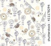 sweet babies doodle seamless... | Shutterstock .eps vector #411178294