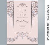 wedding invitation or card with ... | Shutterstock .eps vector #411180721