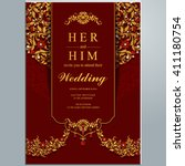 wedding invitation or card with ... | Shutterstock .eps vector #411180754