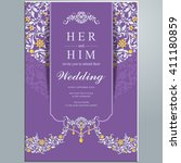 wedding invitation or card with ... | Shutterstock .eps vector #411180859