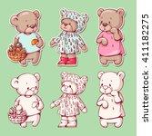 vector set of  funny cartoon... | Shutterstock .eps vector #411182275
