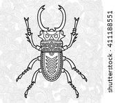 hand drawn beetle. vector... | Shutterstock .eps vector #411188551