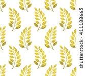 gold leaves pattern. seamless... | Shutterstock . vector #411188665