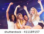 pretty girls with arms up in a... | Shutterstock . vector #411189157
