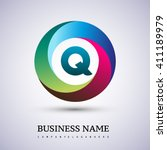 q letter colorful logo in the...   Shutterstock .eps vector #411189979