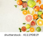 various citrus fruits on the... | Shutterstock . vector #411190819