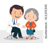 male doctor examining patient.... | Shutterstock .eps vector #411191545