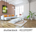 white room with sofa.... | Shutterstock . vector #411192397
