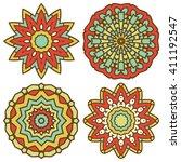 set of mandalas. vector ethnic... | Shutterstock .eps vector #411192547