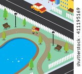 isometric residential view... | Shutterstock .eps vector #411195169