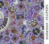 cartoon hand drawn musical... | Shutterstock .eps vector #411195391