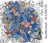 cartoon hand drawn doodles... | Shutterstock .eps vector #411196735
