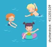 children in pool. vector... | Shutterstock .eps vector #411201109