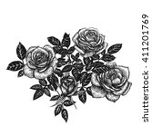 roses. ink hand drawn flowers... | Shutterstock . vector #411201769