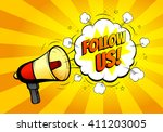 follow us banner for website.... | Shutterstock .eps vector #411203005