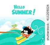 water ski penguin card | Shutterstock .eps vector #411205024