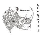 Rhinoceros. Hand Drawn Rhino...