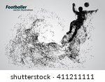 silhouette of a football player ... | Shutterstock .eps vector #411211111