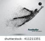 silhouette of a football player ... | Shutterstock .eps vector #411211351