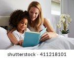 caucasian mum and black... | Shutterstock . vector #411218101