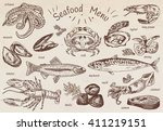seafood menu  octopus  mussels  ...   Shutterstock .eps vector #411219151