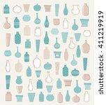 doodle vases and flower design | Shutterstock .eps vector #411219919