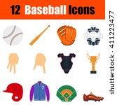 flat design baseball icon set...