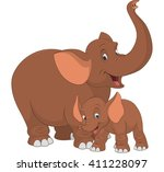 Stock vector vector illustration of an adult elephant and baby elephant on a white background 411228097