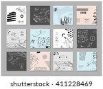 set of artistic creative... | Shutterstock .eps vector #411228469