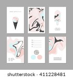 creative trendy cards with ice... | Shutterstock .eps vector #411228481