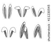 Stock vector set of rabbits s ears hand drawn isolates elements 411230545