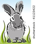 little cute grey bunny sitting... | Shutterstock . vector #41123422