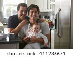 male gay couple with baby girl... | Shutterstock . vector #411236671