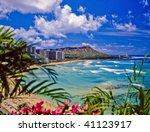 waikiki beach and diamond head | Shutterstock . vector #41123917
