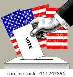 hand putting voting paper in... | Shutterstock .eps vector #411242395