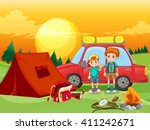 boys camping out in the field... | Shutterstock .eps vector #411242671