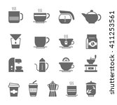 icon set   coffee and tea | Shutterstock .eps vector #411253561