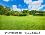 Green Lawn With Blue Sky In Park