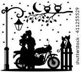 romantic couple  bike  two cats ... | Shutterstock .eps vector #411255529
