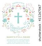 baptism  christening invite  ... | Shutterstock .eps vector #411267067