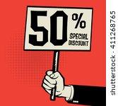 hand holding poster  business... | Shutterstock .eps vector #411268765