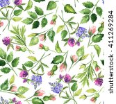 watercolor floral pattern.hand... | Shutterstock . vector #411269284