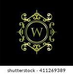 vintage monogram frame template ... | Shutterstock .eps vector #411269389