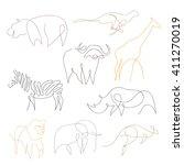 one line safari animals set... | Shutterstock .eps vector #411270019