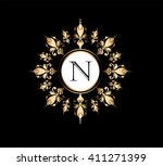 letter n  floral monogram.   Shutterstock .eps vector #411271399