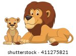 Stock vector vector illustration adult lion and baby lion on a white background 411275821