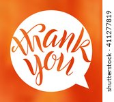 thank you. lettering on blurred ...   Shutterstock .eps vector #411277819