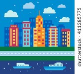 night city skyline  urban... | Shutterstock .eps vector #411285775