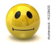 Neutral smiley - stock photo