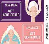 spa salon gift certificate.... | Shutterstock .eps vector #411289825